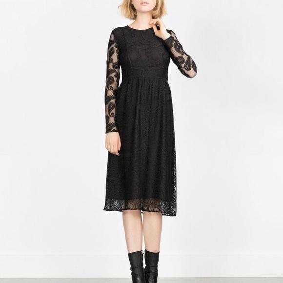 0035ae1081 Zara woman black crochet look lace midi dress. M 5aba67e8a4c48557cc9c3a73
